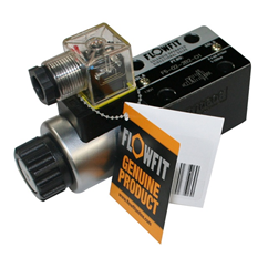 Flowfit hydraulic cetop 5 valve NG10 single solenoid directional control valve, 12 VDC, P Port Open to A Port, B Port Open to Tank.