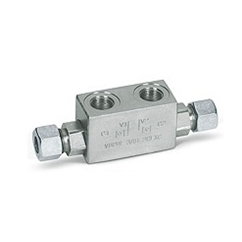 Hydraulic double pilot operated check valves for 12 mm pipe mounting, VBPDE 1/4  L 2 cexc 12L