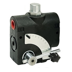 Flowfit 3 port Adjustable flow control valve c/w Relief valve, 1/2  BSP ports