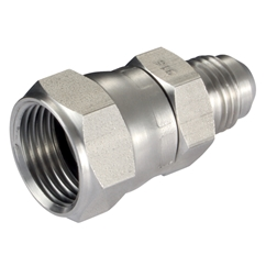Male x Female Straight Adaptor, JIC x JIC, Swivel, Male Thread Size 7/16'', Female Thread Size 7/16''