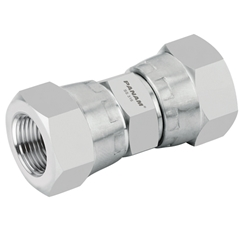 Stainless Steel Female x Female Straight Adaptor, Swivel, BSPP 1/4'' x 1/4'' BSPP