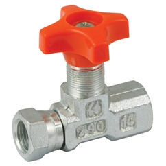 LHA In-line Isolator Needle Valve, 1/4   Female Fixed BSPP x Female Swivel BSPP, Outside Diameter of Stem in Millimetres: M15 x 1