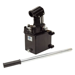 GL Hydraulic single acting Hand Pump assembly 6 cc with release knob, pressure relief valve 500 Bar rated, 1 litre steel tank and 600mm handlever