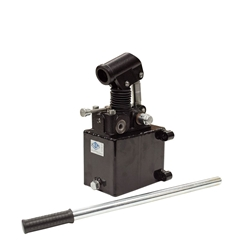 GL Hydraulic double acting Hand Pump assembly 6 cc with double acting changeover valve, pressure relief valve 500 Bar rated, 1 Litre steel tank and 600mm handlever