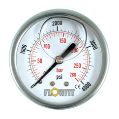 63mm Glycerine Filled Hydraulic pressure gauge -30 HG (-1 BAR) 1/4  BSP REAR Entry
