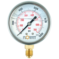 100mm Glycerine filled hydraulic pressure gauge -30 HG (-1 BAR) 1/2  BSP BASE Entry