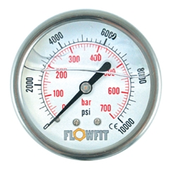 100mm Glycerine filled hydraulic pressure gauge -30 HG (-1 BAR) 1/2  BSP REAR Entry