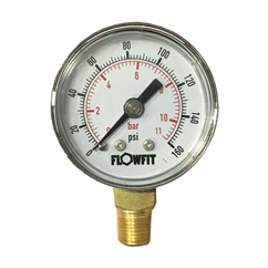40mm Dry/Pneumatic pressure gauge 0-15 PSI (1 BAR) 1/8 BSPT BASE Entry