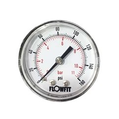 40mm Dry/Pneumatic pressure gauge 0-15 PSI (1 BAR) 1/8 BSPT REAR Entry