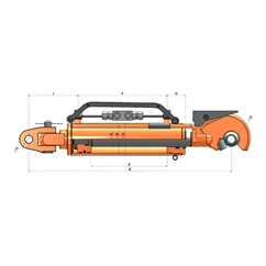 Top Link-Automatic Hitch with anchoring system and measuring ruler  90x50x250x665mm 850BSP