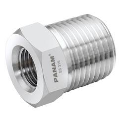 Reducing Bush, Male x Female, 1/4  x 1/8  NPT, Stainless Steel