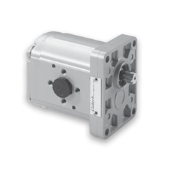 Hydraulic Gear Pump, Group 1, 4 Bolt Flange, Elbow ports, 1 1:8 Taper Shaft, 1.2CC, Clockwise