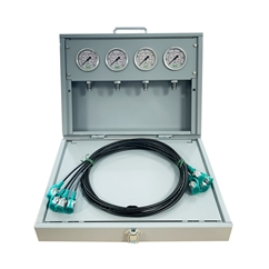 MCS Metal Pressure Test Kit, 4 X 63mm Pressure Gauges & 4 X Micro Hose