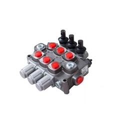 Galtech 3 bank, 3/4 BSP, 120 l/min Double Acting Cylinder Spool 3 Position, Spring Return Hydraulic Monoblock Valve