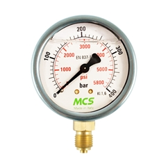 MCS 100mm High Quality Hydraulic Pressure Gauge, 0-10 Bar, 140 PSI, 1/2  BSP, Base Entry