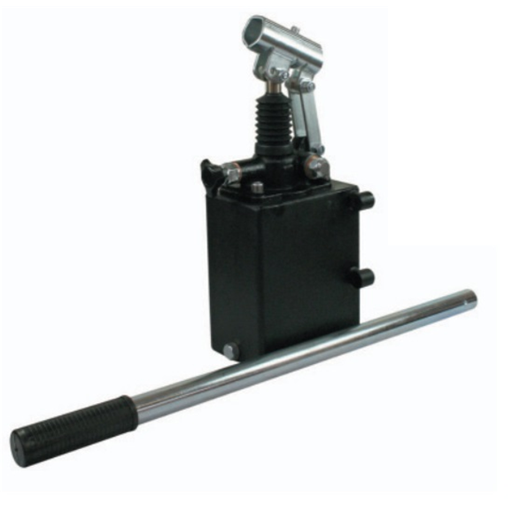 Hydraulic single acting handpump assembly 6 cc with release knob, pressure relief valve 500 Bar rated, 3 litre steel tank and 600mm handlever
