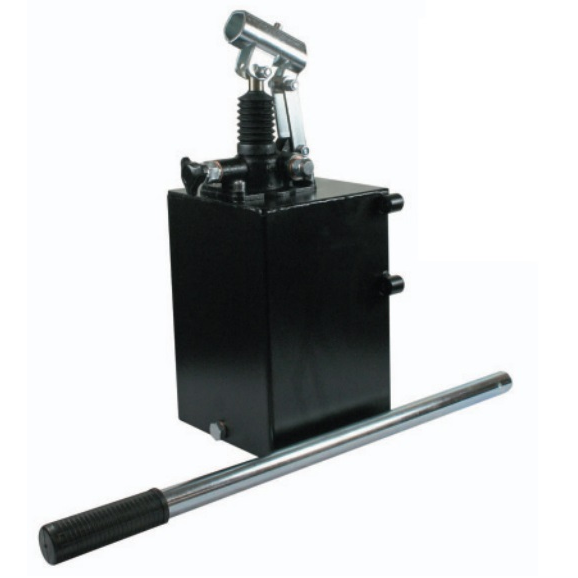 Hydraulic single acting handpump assembly 6 cc with release knob, pressure relief valve 500 Bar rated, 5 litre steel tank and 600mm handlever