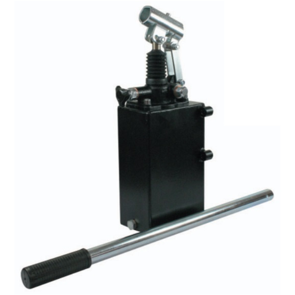 Hydraulic single acting handpump assembly 6 cc with release knob, pressure relief valve 500 Bar rated, 7 litre steel tank and 600mm handlever
