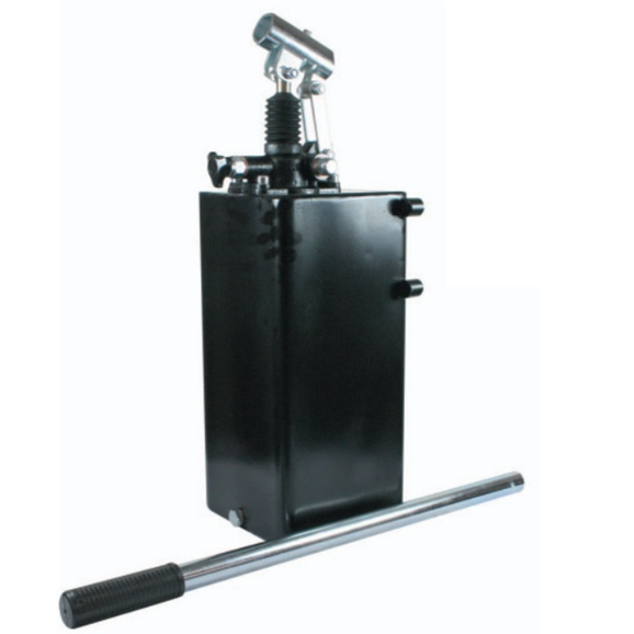 Hydraulic single acting handpump assembly 6 cc with release knob, pressure relief valve 500 Bar rated, 10 litre steel tank and 600mm handlever