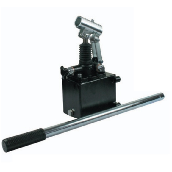 Hydraulic single acting handpump assembly 12 cc with release knob, pressure relief valve 380 Bar rated, 1 litre steel tank and 600mm handlever