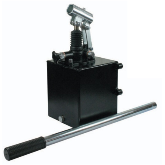 Hydraulic single acting handpump assembly 25 cc with release knob, pressure relief valve 350 Bar rated, 2 litre steel tank and 600mm handlever