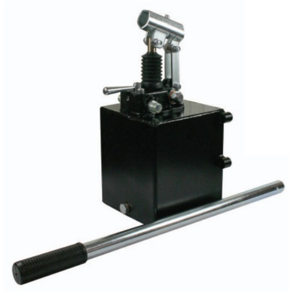 Hydraulic double acting handpump assembly 6 cc with double acting changeover valve, pressure relief valve 500 Bar rated, 2 Litre steel tank and 600mm handlever
