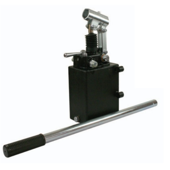 Hydraulic double acting handpump assembly 6 cc with double acting changeover valve, pressure relief valve 500 Bar rated, 3 Litre steel tank and 600mm handlever