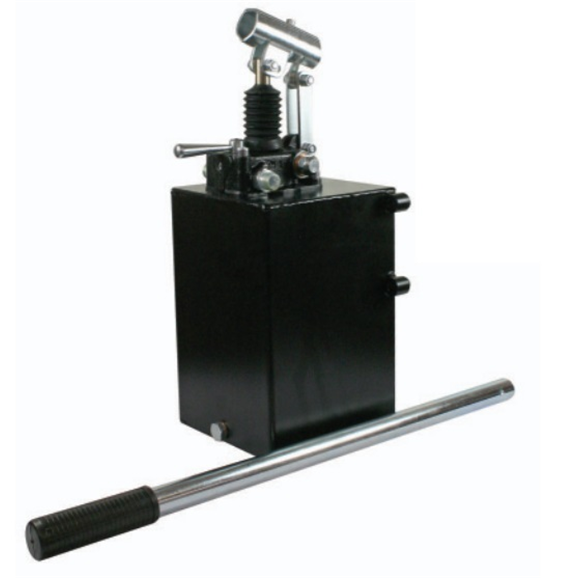 Hydraulic double acting handpump assembly 6 cc with double acting changeover valve, pressure relief valve 500 Bar rated, 5 Litre steel tank and 600mm handlever