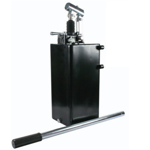 Hydraulic double acting handpump assembly 6 cc with double acting changeover valve, pressure relief valve 500 Bar rated, 10 Litre steel tank and 600mm handlever