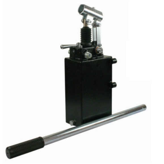 Hydraulic double acting handpump assembly 12 cc with double acting changeover valve, pressure relief valve 380 Bar rated, 7 Litre steel tank and 600mm handlever