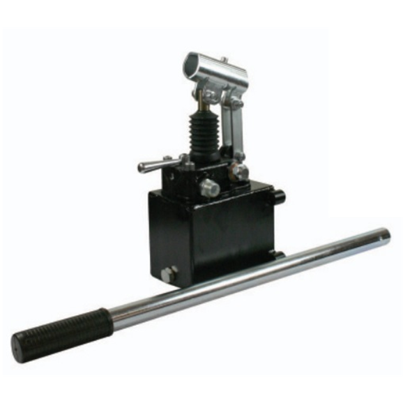 Hydraulic double acting handpump assembly 25 cc with double acting changeover valve, pressure relief valve 350 Bar rated, 1 Litre steel tank and 600mm handlever