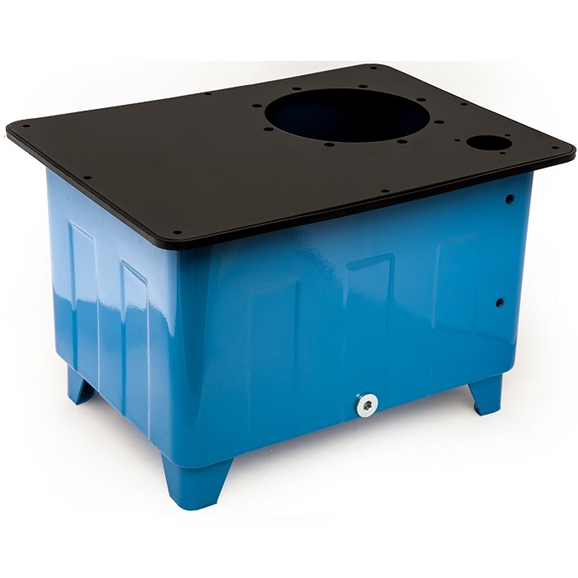 "Flowfit 6 litre steel tank with pre-drilled 3 hole filler breather and bell housing hole to suite 0.18kw motor, c/w lid, seal and 3/8"""" drain plug."