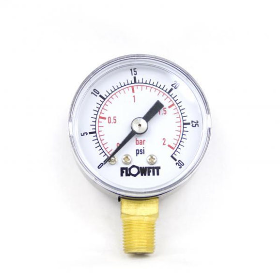 "40mm Dry/Pneumatic pressure gauge 0-30 PSI (2 BAR) 1/8"""" bspt base entry"