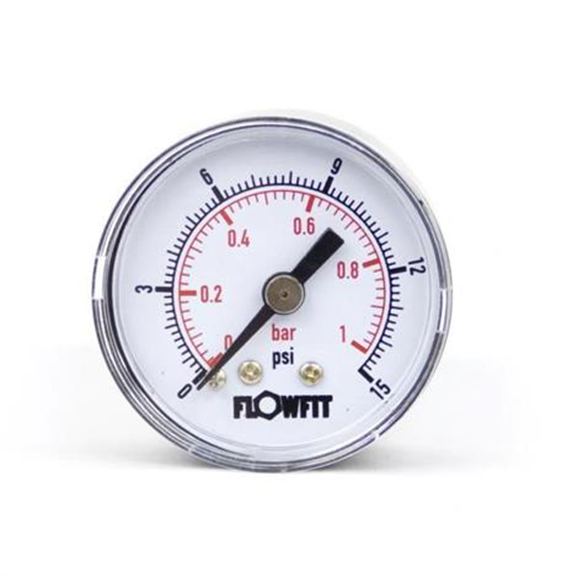"40mm Dry/Pneumatic pressure gauge 0-15 PSI (1 BAR) 1/8"""" bspt rear entry"