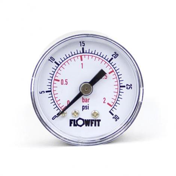 "40mm Dry/Pneumatic pressure gauge 0-30 PSI (2 BAR) 1/8"""" bspt rear entry"