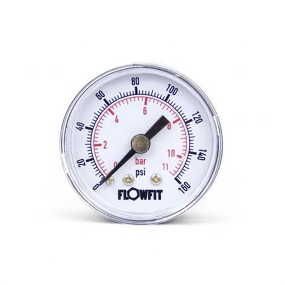 "40mm Dry/Pneumatic pressure gauge 0-160 PSI (11 BAR) 1/4"" bspt rear entry"