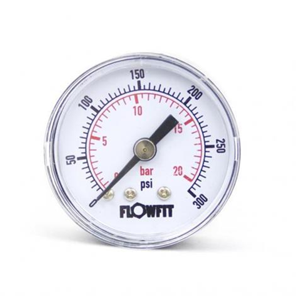 "40mm Dry/Pneumatic pressure gauge 0-300 PSI (21 BAR) 1/8"" bspt rear entry"