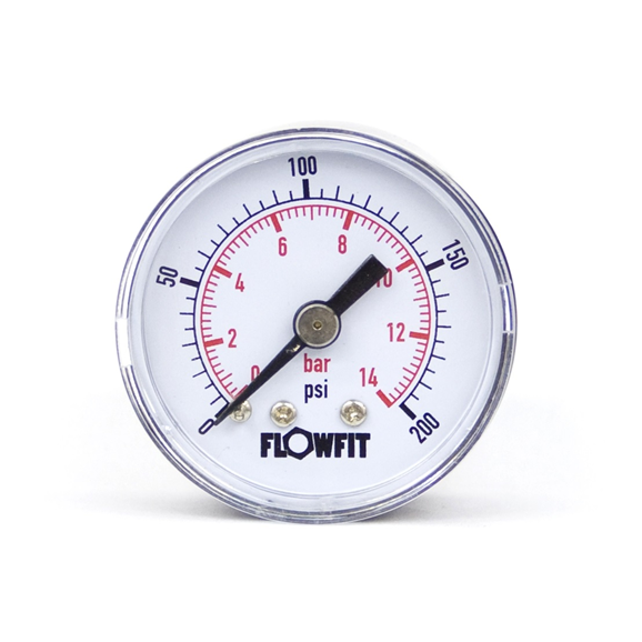 "40mm Dry/Pneumatic pressure gauge 0-400 PSI (28 BAR) 1/8"" bspt rear entry"