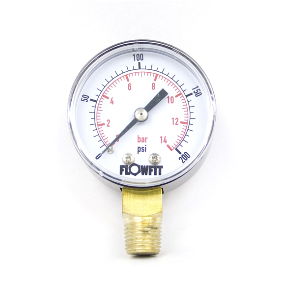 "50mm Dry/Pneumatic pressure gauge 0-30 PSI (2 BAR) 1/4"""" bsp base entry"