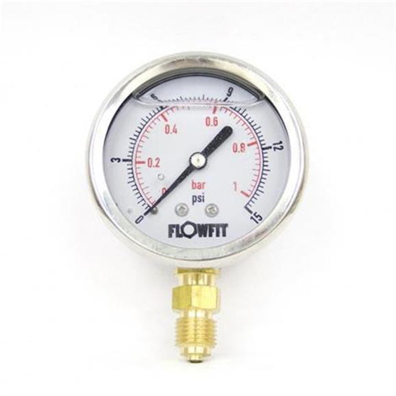 "63mm Glycerine Filled Hydraulic pressure gauge 0-15 PSI (1 BAR) 1/4"" bsp bottom entry"