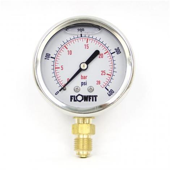 "63mm Glycerine Filled Hydraulic pressure gauge 0-400 PSI (28 BAR) 1/4"" bsp bottom entry"