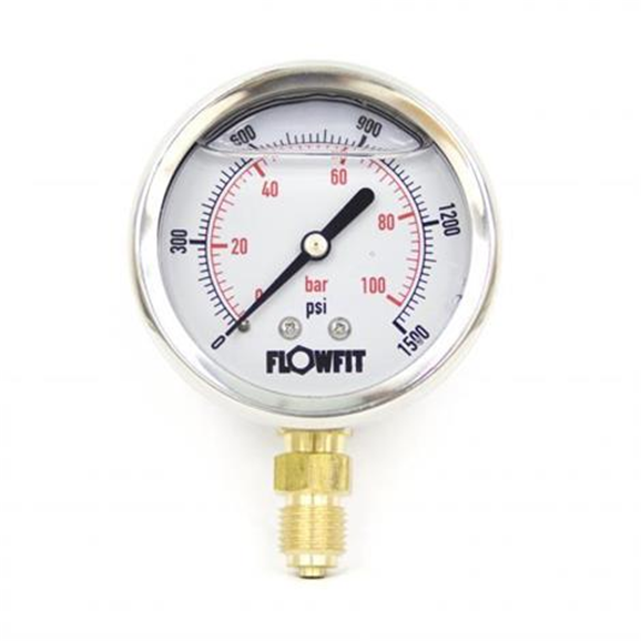 "63mm Glycerine Filled Hydraulic pressure gauge 0-1500 PSI (100 BAR) 1/4"""" bsp bottom entry"
