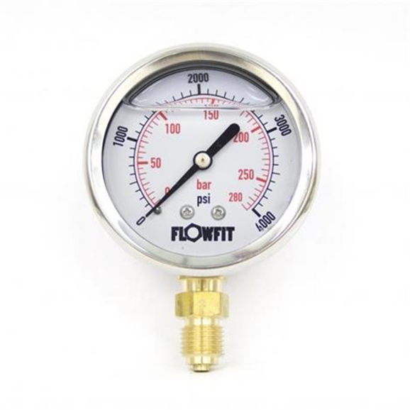 "63mm Glycerine Filled Hydraulic pressure gauge 0-4000 PSI (275 BAR) 1/4"""" bsp bottom entry"