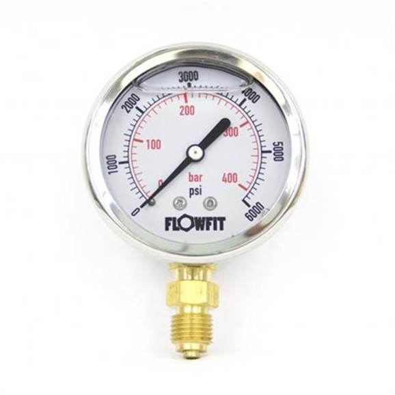 "63mm Glycerine Filled Hydraulic pressure gauge 0-6000 PSI (414 BAR) 1/4"""" bsp bottom entry"