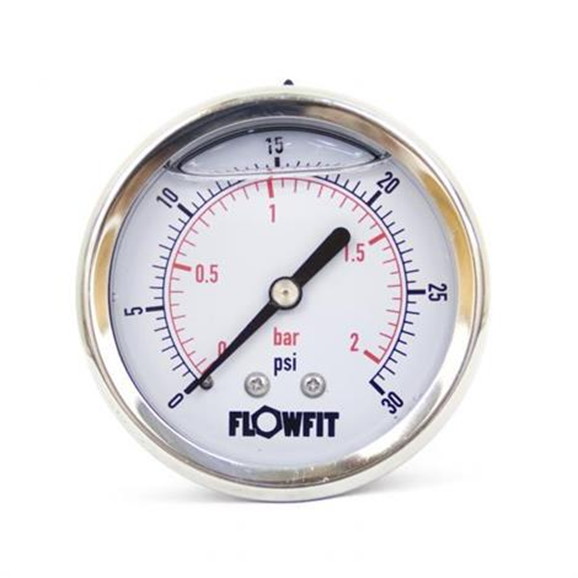 "63mm Glycerine Filled Hydraulic pressure gauge 0-30 PSI (2 BAR) 1/4"""" bsp rear entry"