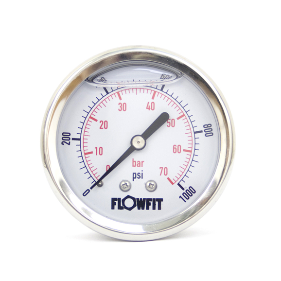 "63mm Glycerine Filled Hydraulic pressure gauge 0-1000 PSI (70 BAR) 1/4"""" bsp rear entry"