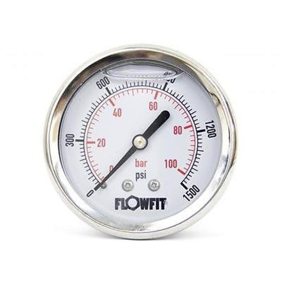 "63mm Glycerine Filled Hydraulic pressure gauge 0-1500 PSI (100 BAR) 1/4"""" bsp rear entry"