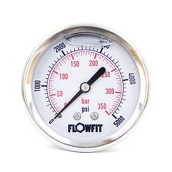 "63mm Glycerine Filled Hydraulic pressure gauge 0-2000 PSI (138 BAR) 1/4"""" bsp rear entry"