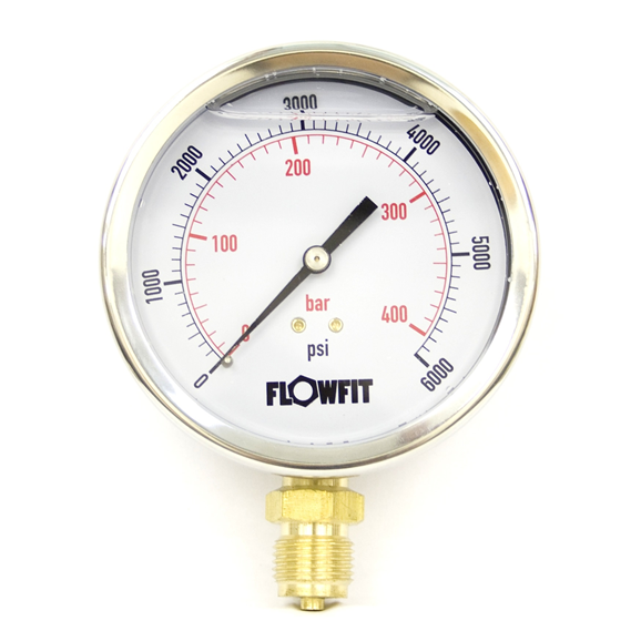 "100mm Glycerine filled hydraulic pressure gauge 0-6000 PSI (414 BAR) 1/2"""" bsp bottom entry"