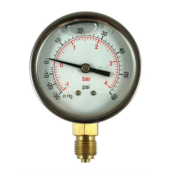 100mm Glycerine filled hydraulic pressure gauge -30 HG + 60 PSI (-1/+4 BAR) 1/2